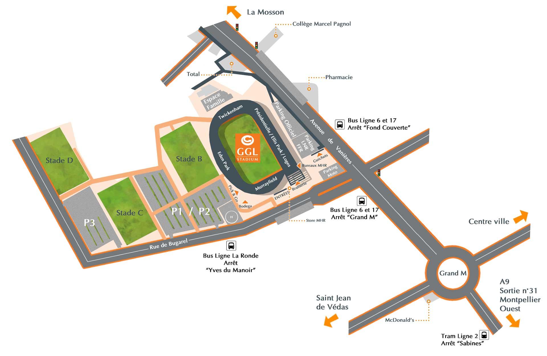 Plan d'accès GGL Stadium
